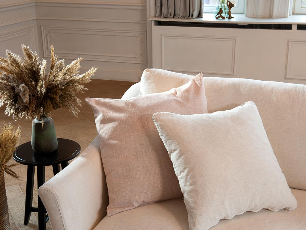 sofa upholstered with linen blend fabric lucca