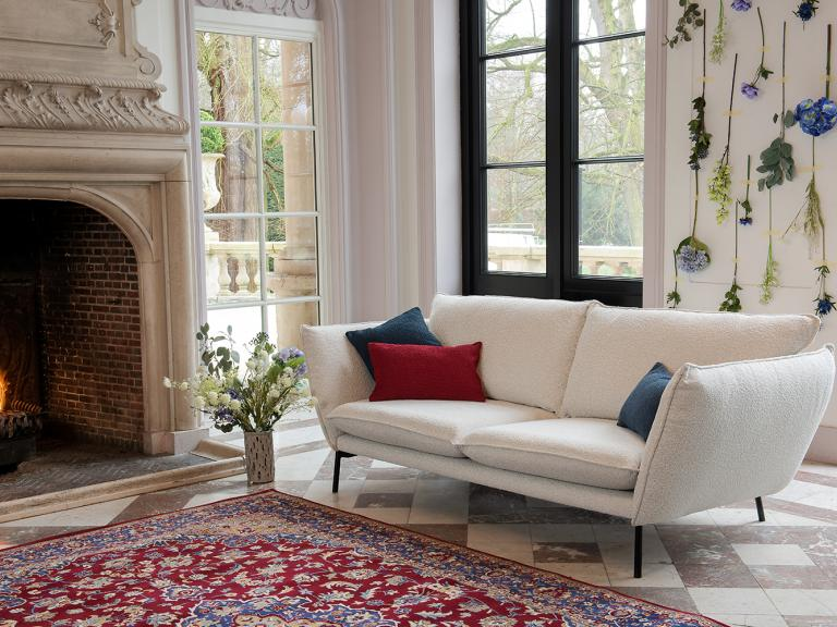 sofa with copenhagen structured bouclé fabric with soft touch