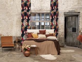 curtains made of floral printed fabric
