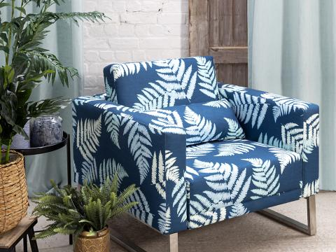 armchair with blue printed fabric